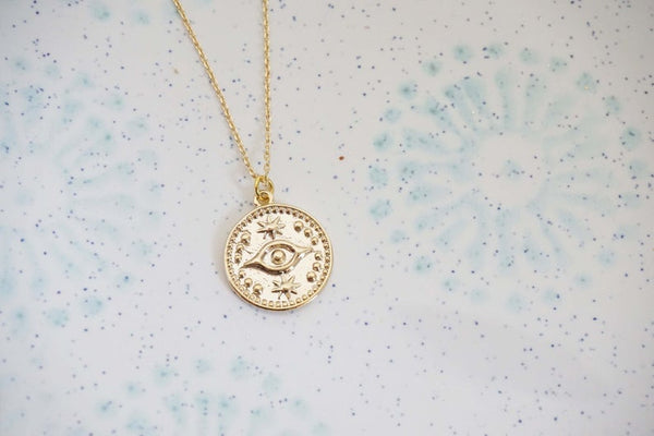 Gold Evil Eye Charm Pendant Necklace
