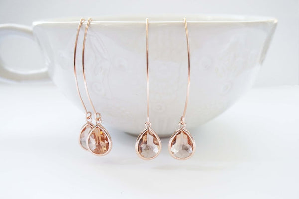 Rose Gold and Champagne Long Hook Earrings | Bridesmaid Earrings | Wedding Jewelry