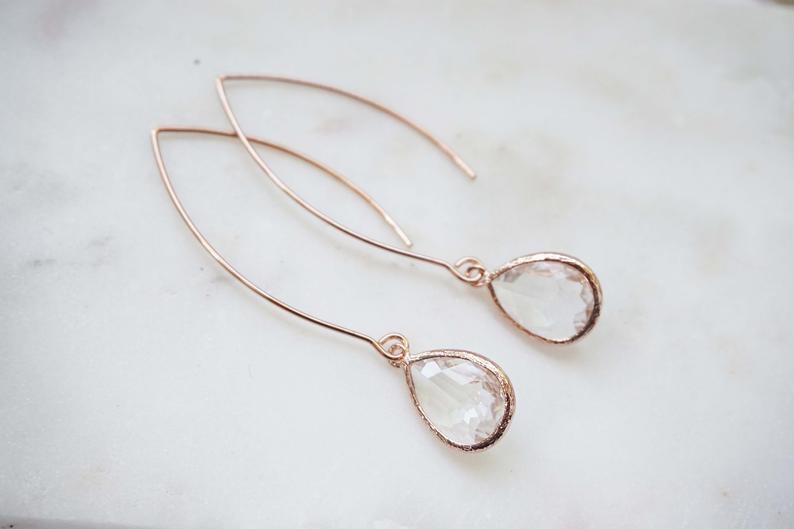 Long Hook Crystal and Rose Gold Gem Earrings | Bridesmaid Earrings | Wedding Jewelry