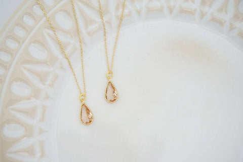 Dainty Champagne Teardrop Gem Necklace | Bridesmaid Necklaces | Wedding Jewelry