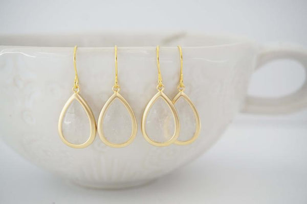 Matte Crystal Teardrop Earrings | Bridesmaid Earrings | Wedding Jewelry
