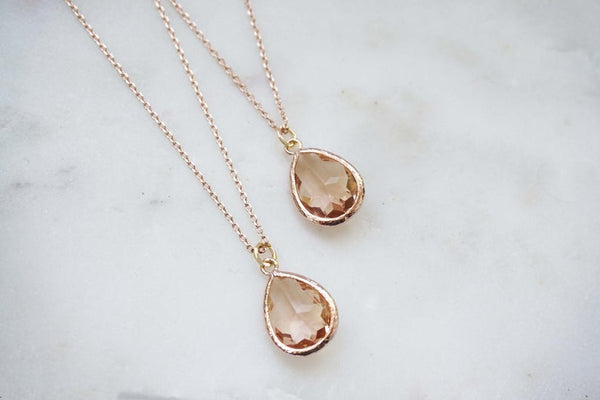 Champagne Gem and Rose Gold Necklace | Bridesmaid Necklaces | Wedding Jewelry