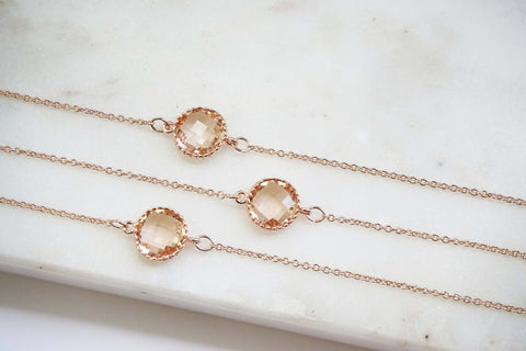 Champagne Circle Gem and Rose Gold Bracelets | Bridesmaid Bracelets | Wedding Jewelry