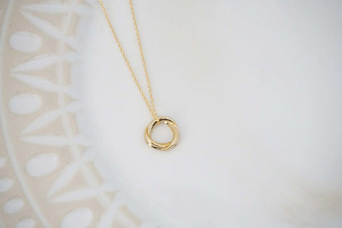 Gold Infinity Circle Pendant Necklace