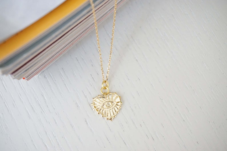 Heart Evil Eye Gold Pendant Charm Necklace