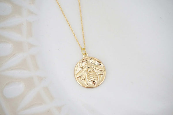 Gold Bee Pendant Charm Necklace