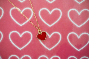 Red and Gold Heart Pendant Necklace | Valentine's Day Necklace | Love Jewelry