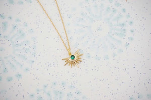 Gold Starburst and Emerald Green Gem Charm Necklace
