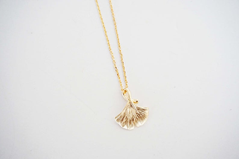 Matte Gold Ginkgo Leaf Necklace | Gingko Charm Necklace | Gingko Necklace