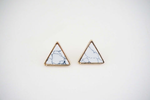 Gold and White Marble Triangle Post Earrings
