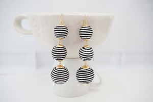 Stripe Ball Statement Earrings