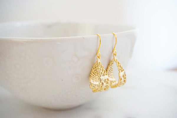 Gold Lace Hoop Earrings