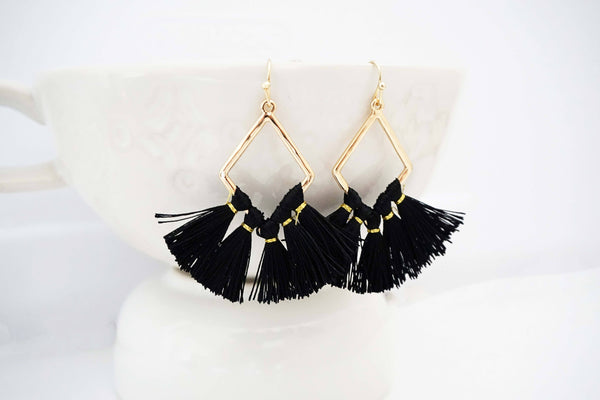 Gold Geo and Black Tassel Statement Earrings