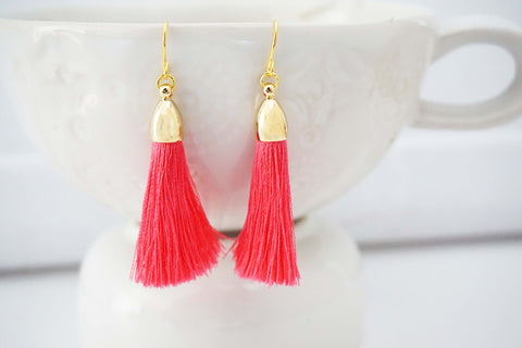 Hot Pink and Gold Tassel Earrings