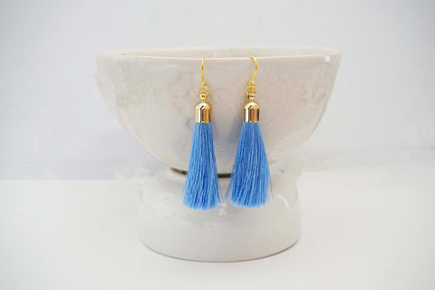 Light Blue and Gold Tassel Earrings
