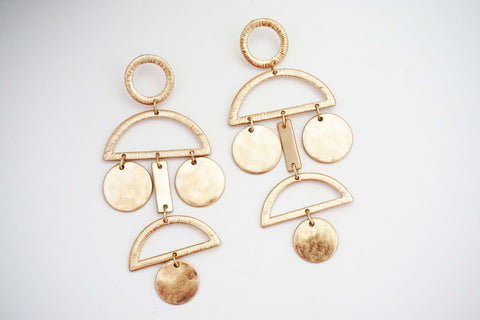 Gold Geometric Post Statement Earrings