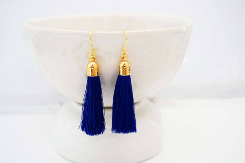 Dark Blue and Gold Tassel Earrings