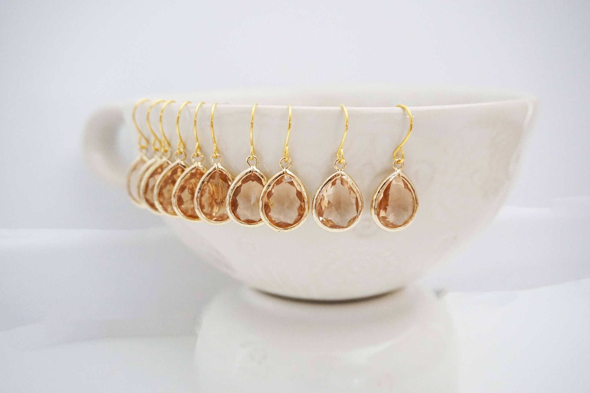 Champagne Teardrop Gem Earrings | Bridesmaid Earrings | Wedding Jewelry
