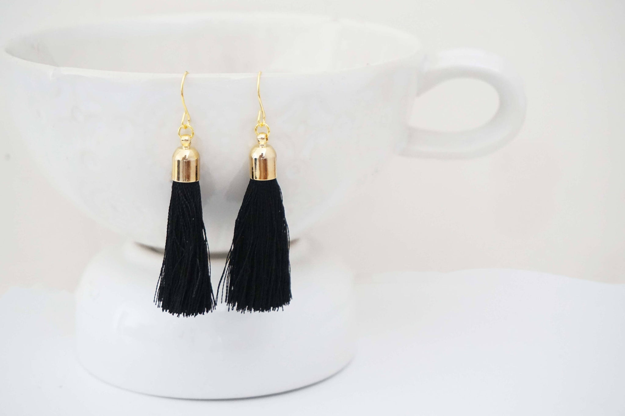 Black and Gold Tassel Earrings