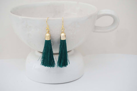 Dark Teal Green and Gold Tassel Earrings