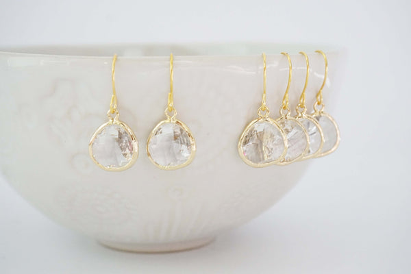 Crystal Gem Earrings | Bridesmaid Earrings | Wedding Jewelry | ECG5, ECS5