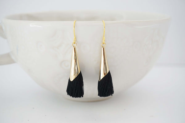 Gold Cone Tassel Earrings