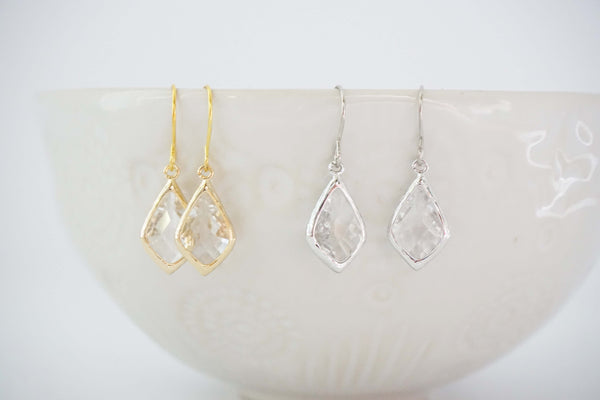 Crystal and Gold Gem Earrings | Bridesmaid Earrings | Wedding Earrings
