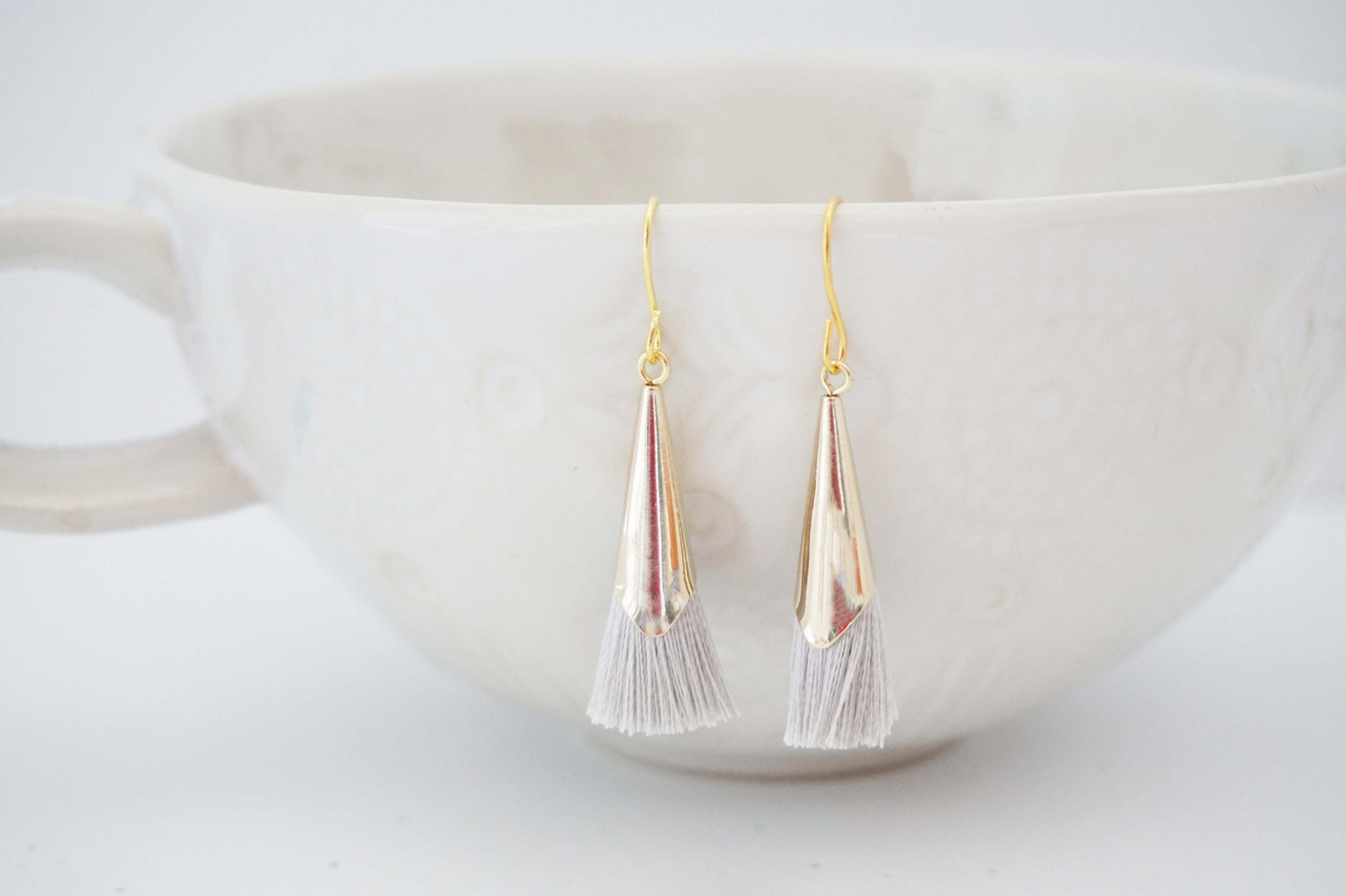 Light Grey and Gold Cap Tassel Earrings