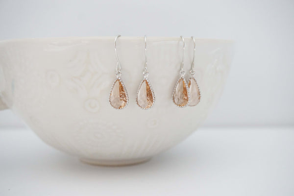 Dainty Champagne Gem Earrings | Bridesmaid Earrings | Wedding Jewelry