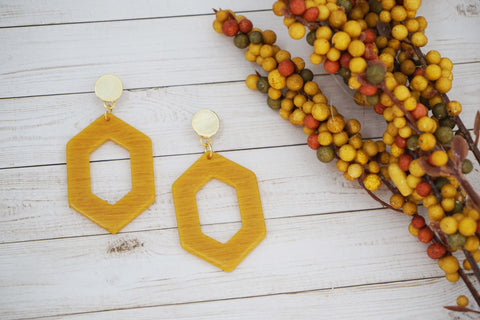 Mustard Yellow Acrylic Gold Post Earrings