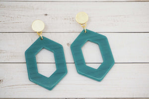 Aqua Teal Acrylic and Gold Post Statement Earrings