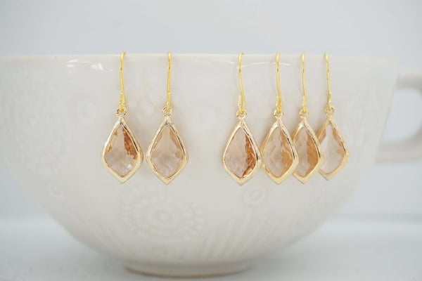 Champagne Gem and Gold Earrings | Bridesmaid Earrings | Wedding Jewelry