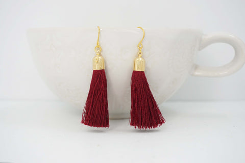 Dark Red Maroon and Gold Tassel Earrings
