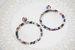 Multicolor Large Hoop Acrylic Post Earrings