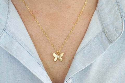 Glossy Gold Butterfly Charm Necklace