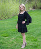Flowing Long Sleeve Black Dress - Amore Clothing - 2