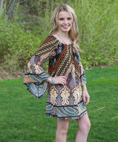 Flowing Multicolor Boho Dress or Tunic - Amore Clothing - 2
