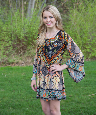Flowing Multicolor Boho Dress or Tunic - Amore Clothing - 1