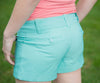 Adorable Mint Button Pocketed and Cuffed Shorts