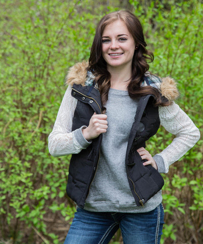 Black Fur and Plaid Lined Hooded Puffer Vest - Amore Clothing - 1