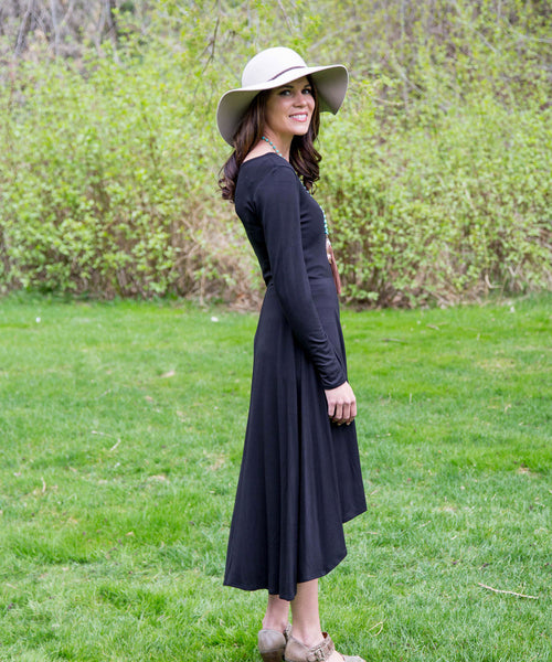 Long Sleeved Jersey Dress - Amore Clothing - 1