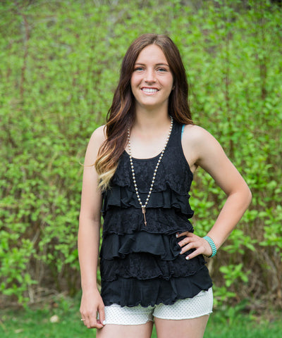 Black Ruffled Lace Tank Top - Amore Clothing - 2