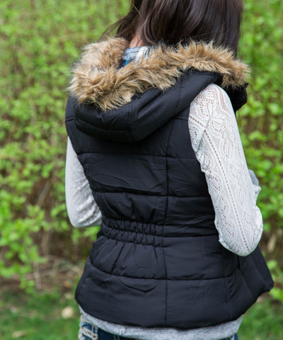 Black Fur and Plaid Lined Hooded Puffer Vest - Amore Clothing - 2