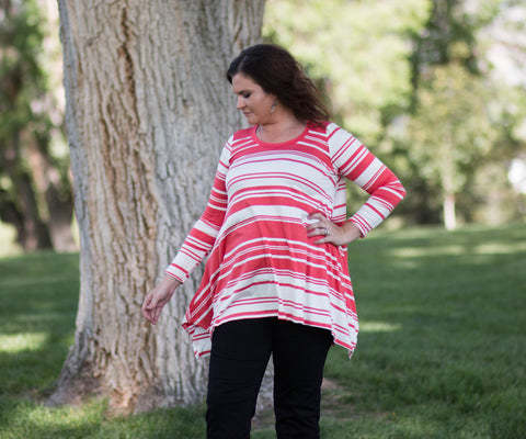 Curvy 3/4 Sleeve High-Low Striped Tunic Top - Amore Clothing - 2