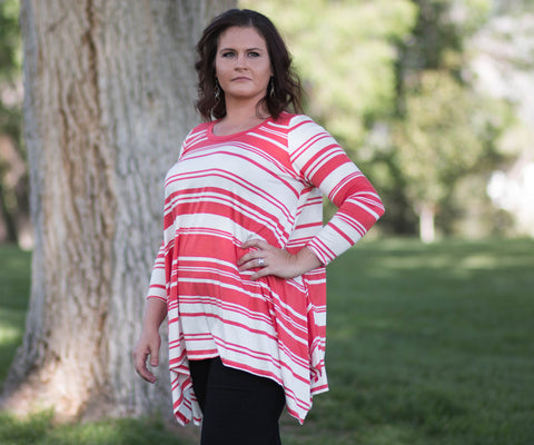 Curvy 3/4 Sleeve High-Low Striped Tunic Top - Amore Clothing - 1