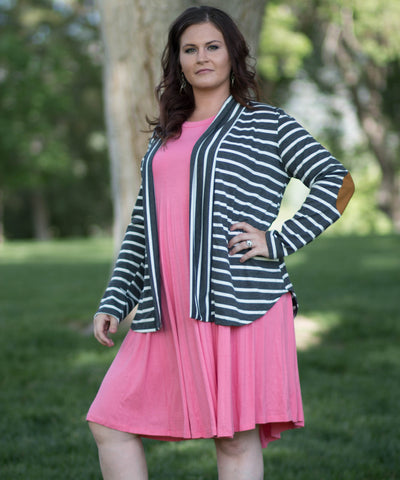 Stripped Elbow Patched Cardigan. -  - 1
