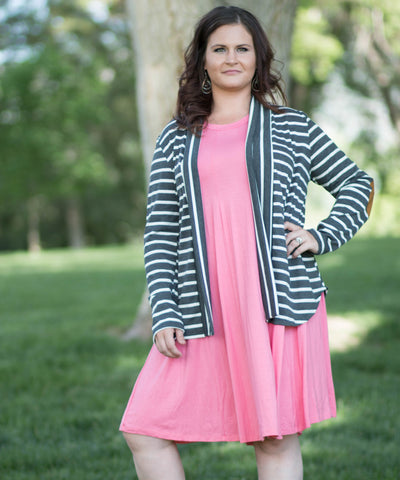 Stripped Elbow Patched Cardigan. -  - 2