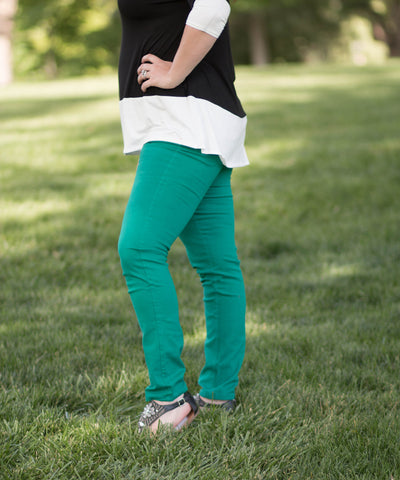 Curvy Green Skinny Style 5 Pocket Jeans -  - 2
