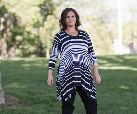 Curvy Long Sleeved Striped Flowing Tunic Top - Amore Clothing - 1