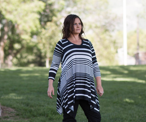 Curvy Long Sleeved Striped Flowing Tunic Top - Amore Clothing - 2